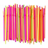 Eskay, Flexible Neon Plastic Straws, Food-Safe BPA-Free Plastic, Jumbo Pack 300 Straws, 7 3/4 Inches, over 8 Inches stretched