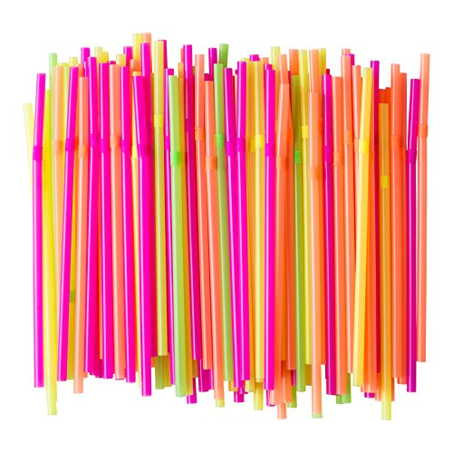 Flexible Neon Plastic Straws, Food-Safe BPA-Free Plastic, Jumbo Pack 300 Straws, 7 3/4 Inches, Over 8 Inches Stretched -