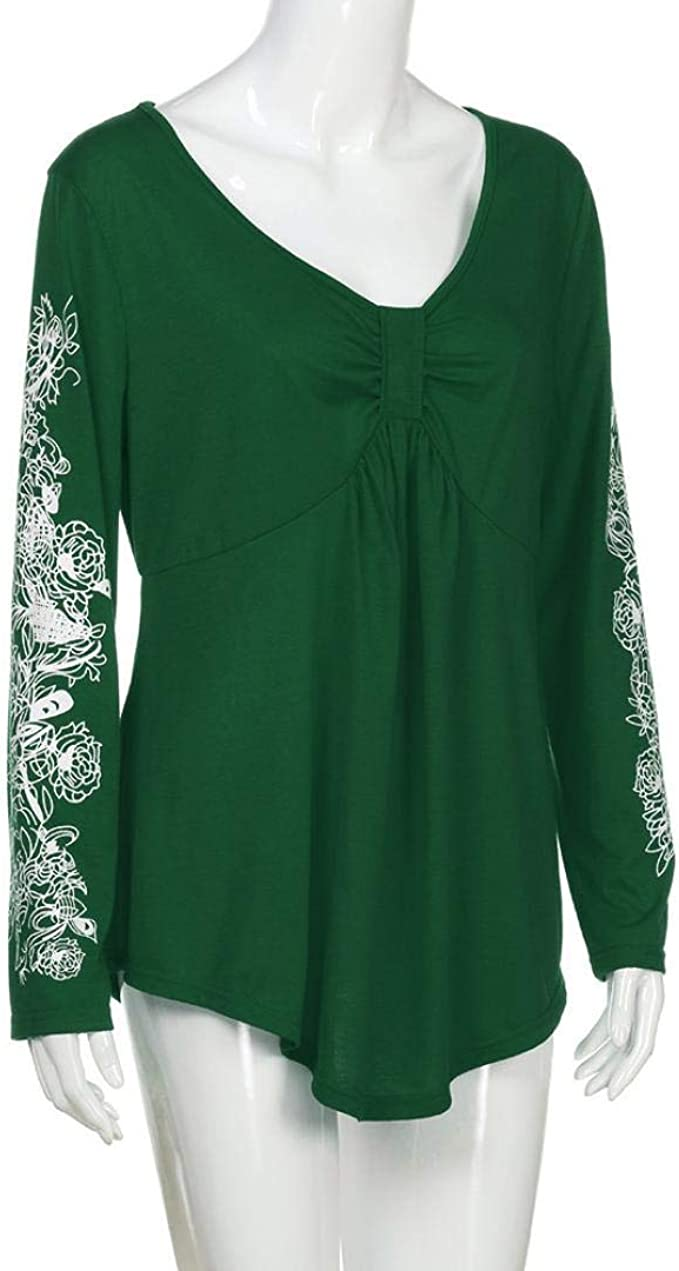 Jotebriyo Womens Long Sleeve Large Size Floral Embroidery V-Neck Print Top Blouse T-Shirt
