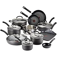 T-fal E918SH Ultimate Hard Anodized Scratch Resistant Titanium Nonstick Thermo-Spot Heat Indicator Anti-Warp Base Dishwasher Safe Oven Safe PFOA Free Cookware Set, 17-Piece, Gray