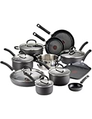 T-fal Hard Anodized Cookware Set, Nonstick Pots and Pans Set, 17 Piece, Thermo-Spot Heat Indicator, Gray