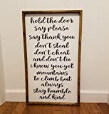 Always stay humble and kind Farmhouse sign, fixer upper style, chunky framed, hand painted. master bedroom decor Review
