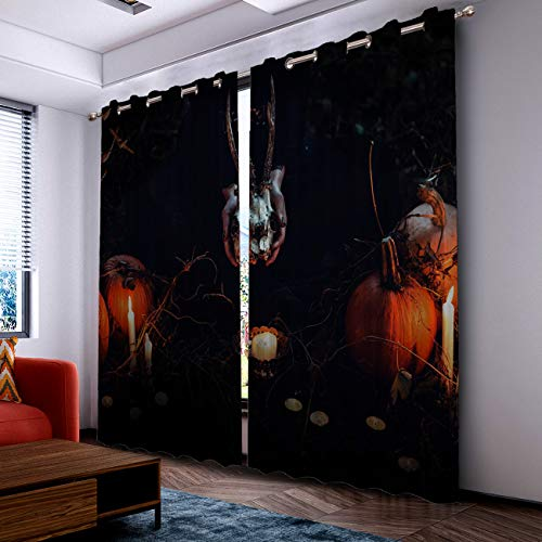 Prime Leader Curtains for Living Room- Darkening Thermal Insulated Window Treatment Curtains, with Grommet Home Decor Halloween Pumpkin Sheep Skull (2 Panels, 52 x 90 Inch Each Panel) ()
