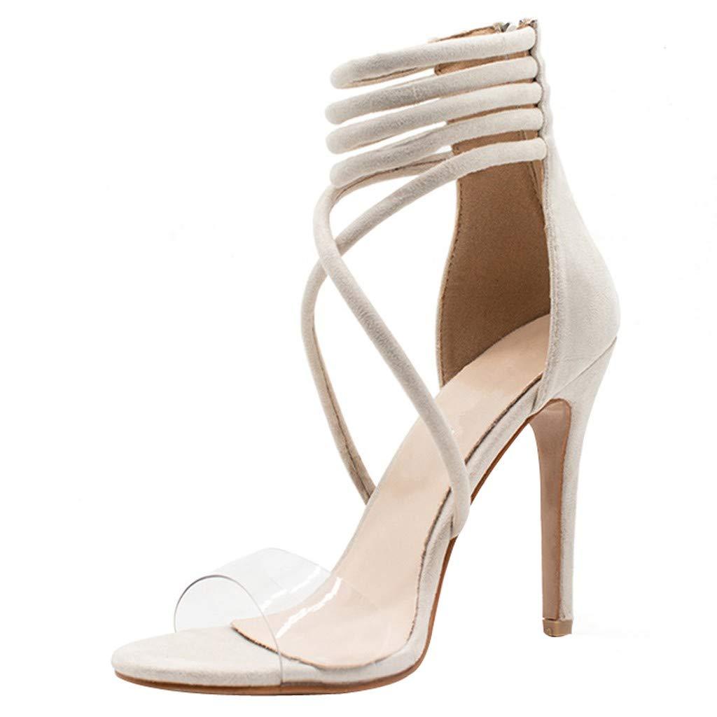 YKARITIANNA Women's Sexy High Heel Pointed Sandals Open Toe Back Zipper Hollow Casual Shoes Beige