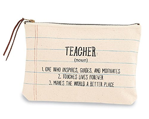 "Definition Of A Teacher Canvas Cosmetics Bag, 6 1/2"" x 9""."