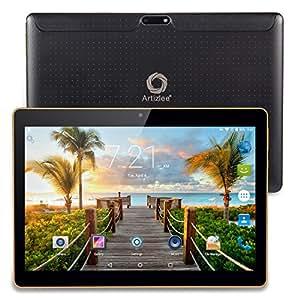 "Artizlee ATL-21T - 10.1"" Tablet Pc - Android 4.4.2, Quad-Core, 1280x800 IPS, Dual Sim, 3G, 1 GB RAM, 16 GB, Cámara 5.0MP, WiFi, Bluetooth, OTG, con Protector de Pantalla y Manual en Español, (Negro)"