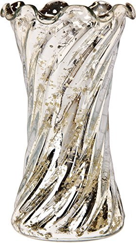 Luna Bazaar Vintage Mercury Glass Vase (6-Inch, Grace Ruffled Swirl Design, Silver) - Decorative Flower Vase - For Home Decor and Wedding -