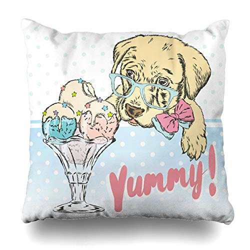 (DIYCow Throw Pillows Covers Creams Cute Puppy Ice Sweet Cream Wildlife Coffee Character Cushion Case Pillowcase Home Sofa Couch Square Size 18 x 18 Inches Pillowslips)
