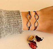 Personalized Infinity Symbol, Name Bracelet, Leather, Infinity Charm, Handmade Love Heart, Friendship Bridesma