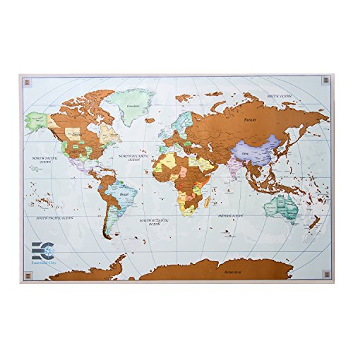 Scratch Off Map of The World - Scratch Travel Poster - World Scratch Map, Detailed US States, Deluxe Travel Scratch Poster Free Accessories, Easy to Frame - 24''x 36'' - Perfect Gift for Travelers