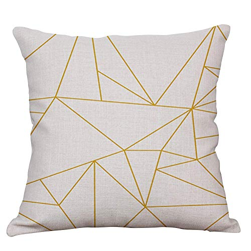 YeeJu Geometric Decorative Throw Pillow Covers Cotton Linen Square Cushion Covers Outdoor Couch Sofa Home Pillow Covers 20x20 Inch (Ikea Cushion Covers Outdoor)
