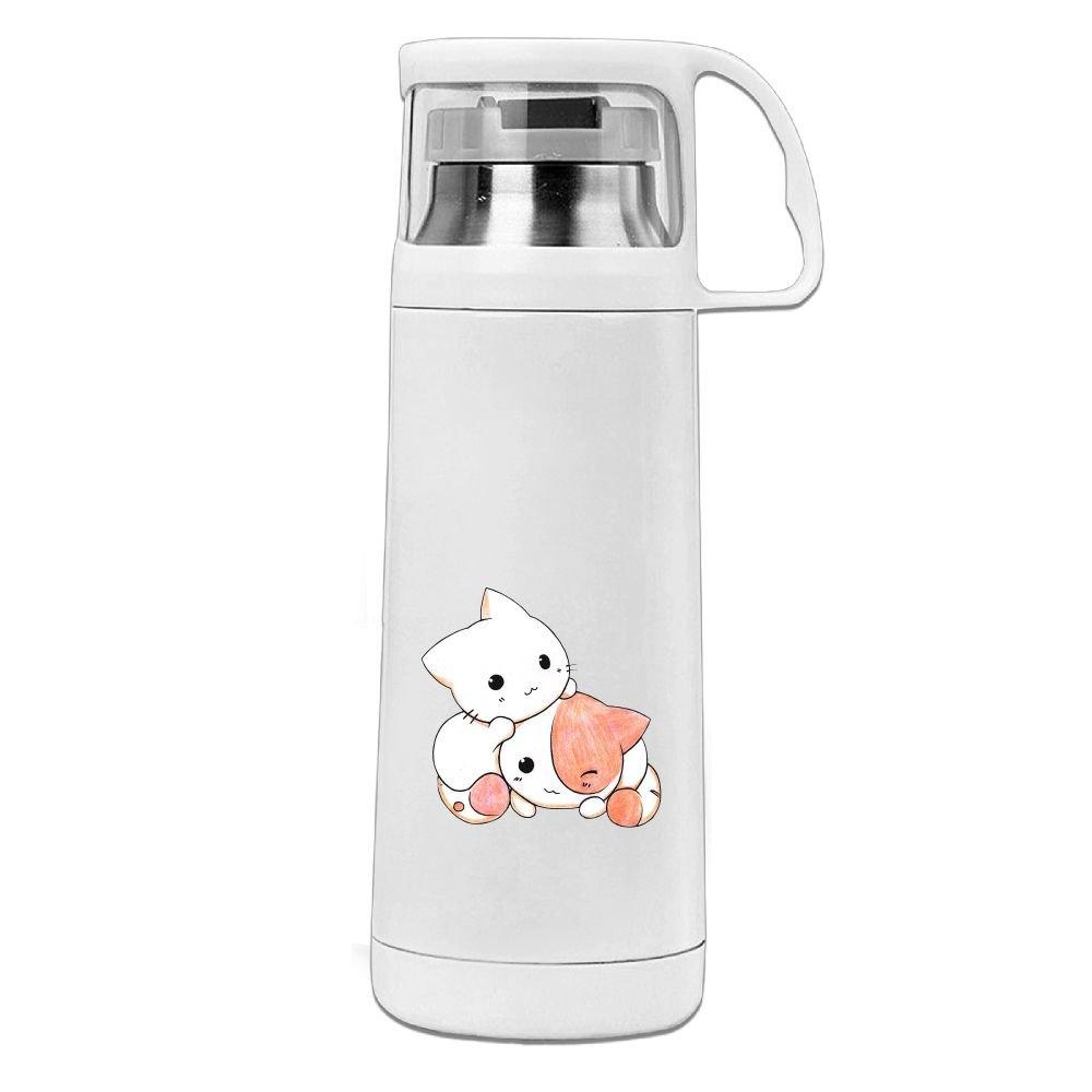 カレンガーデンKawaii猫ステンレススチール真空断熱ウォーターボトルリークプルーフHandledマグホワイト、12oz B077Z4V9H7