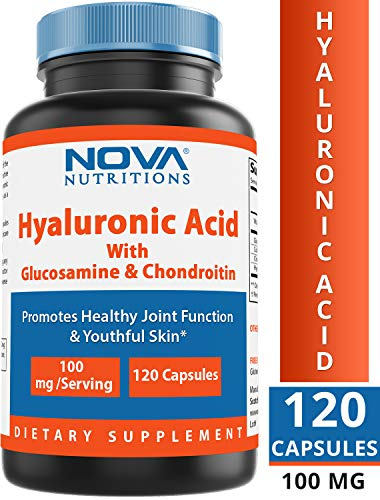 Nova Nutritions Hyaluronic Acid 100mg/serving - Promotes Youthful Skin & Healthy Joint Function 120 Capsules (Best Naturals Hyaluronic Acid)