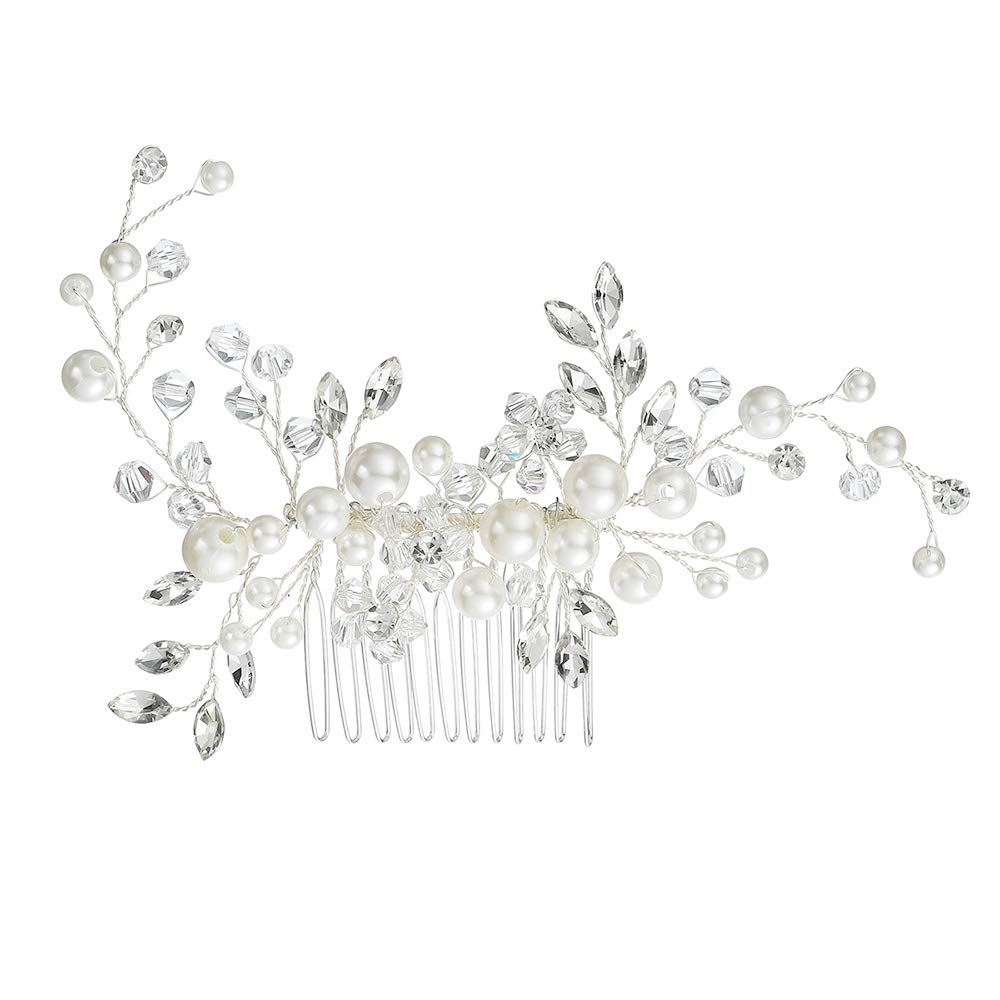 Stylebar Women Bridal Hair Comb Handmade Bendable Clear Crystal Bead Ivory Color Simulatd Pearl Leaf Vine Filigree Flower Wedding Hair Accessories for Bride and Bridesmaids by Stylebar