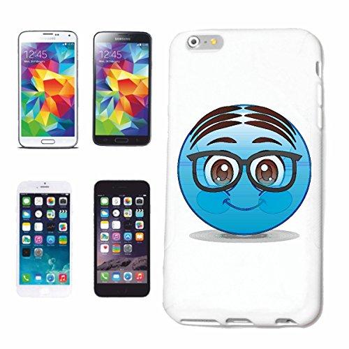 """cas de téléphone iPhone 4 / 4S """"BLEU SMILEY AVEC LUNETTES ET MOYENS CREST """"sourire EMOTICON APP sa SMILEYS SMILIES ANDROID IPHONE EMOTICONS IOS"""" Hard Case Cover Téléphone Covers Smart Cover pour Apple"""
