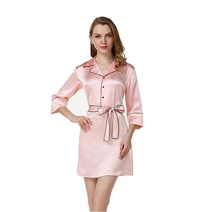 Mujer 100% Seda Pura Pijama Vestido de Dormir Suave Frío Cómodo Noble Lujo Adecuado para