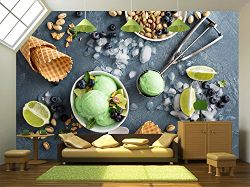 wall26 - Green Refreshing Lime Pistachio Ice Cream in White Bowl Overhead Shot - Removable Wall Mural | Self-adhesive Large Wallpaper - 66x96 inches (Lemon Lime Shots Ice Cream)