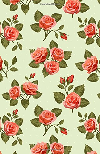 Bullet Journal: Vintage Floral Roses Green Notebook Dotted Grid, (5.5 x 8.5)