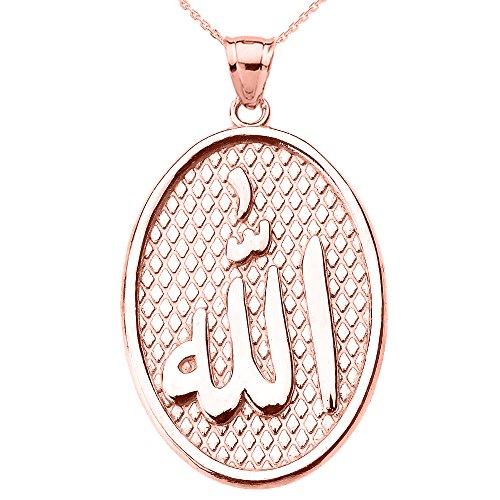 Collier Femme Pendentif 10 Ct Or Rose Allah Ovale (Livré avec une 45cm Chaîne)