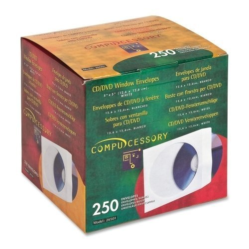 - CD/DVD White Paper Sleeves with Clear Window, 250 Pack by Compucessory