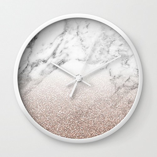 Society6 Marble Sparkle Rose Gold Wall Clock White Frame, White Hands (White Clock White Gold)