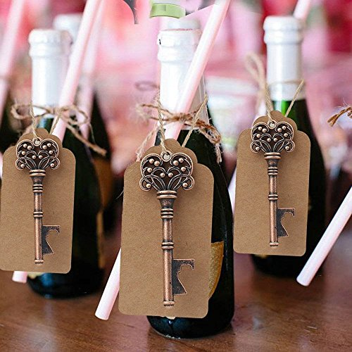 Yansanido Pack of 50 Skeleton Key Bottle Opener with Escort Tag Card and Twine for Wedding Favors for Guests Party Favors (style 3) by Yansanido