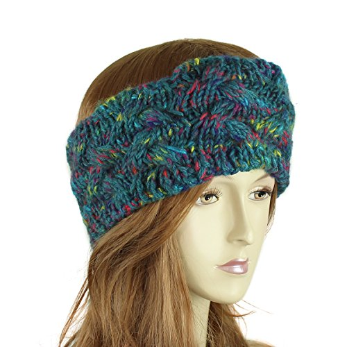 Multicolor Braided Knitted Headband, Teal