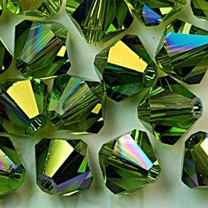 Swarovski Crystal Bicone 5301 4mm OLIVINE AB Beads (48)