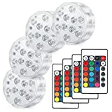 Kohree Submersible LED Lights, Remote Control Waterproof RGB Multi Color Changing, Underwater Accent Lights for Aquarium Fountain Vase Pond Swimming Pool Garden Hot Tub Battery Powered 10 LED 4 Pack