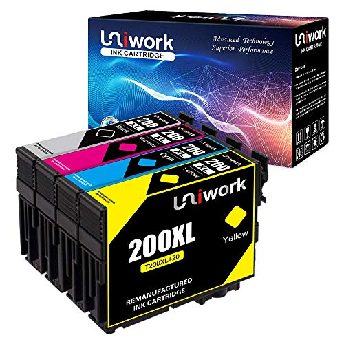 Uniwork Remanufactured Ink Cartridge Replacement for Epson 200 200XL T200XL use for WF-2540 WF-2530 WF-2520 Expression Home XP-410 XP-400 XP-200 Printer (1 Black 1 Cyan 1 Magenta 1 Yellow) 4 Pack ()