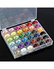CharmCollection 36Pcs Sewing Machine Bobbin Threads with Case and Measuring Tape for Singer Brother Babylock Janome Elna Assorted Colors Spools Rainbow Assorted Colour Colors