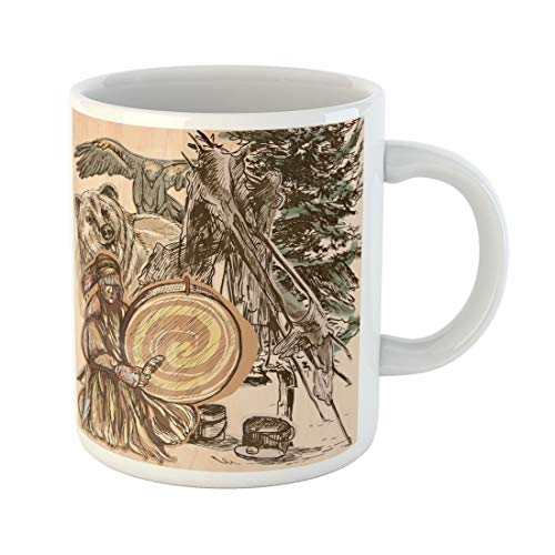 Semtomn Funny Coffee Mug Shaman Native Man Drum Drummer Sitting in the Forest 11 Oz Ceramic Coffee Mugs Tea Cup Best Gift Or Souvenir