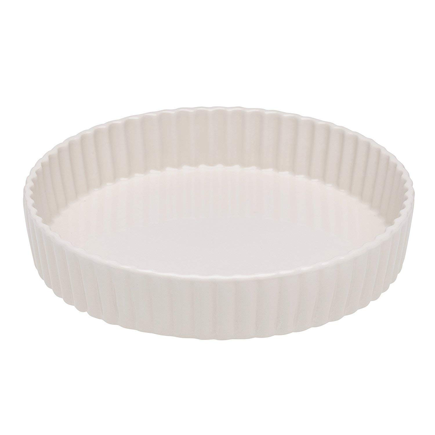Wade Milton Brook White Flan Quice Pie Dish Stoneware 23cm / 9'' | Made in UK | Oven, Freezer, Microwave Safe