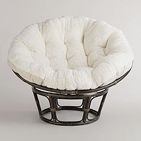 Charmant Amazon.com: American Rattan Papasan Chair With White Cream Cotton Polyester  Mix Cushion   Adult Size: Home U0026 Kitchen