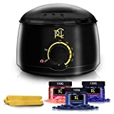 Wax Warmer Kit Hair Removal, At Home Waxing Kit, Professional Electric Pot Heater Melts Hot Beads Minutes, Painless Wax of Legs, Face, Body, Bikini Area, Includes 3 Hard Wax Beans (450g) & 20 Sticks