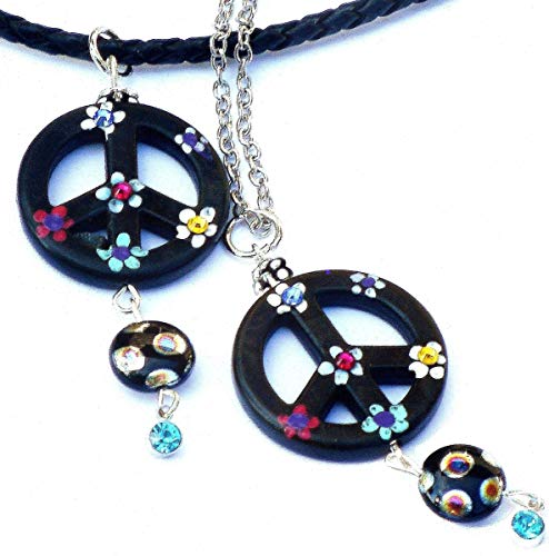 Funky Hippie Peace Sign Necklace with Hand Painted Flowers and Swarovski Crystal Rhinestones