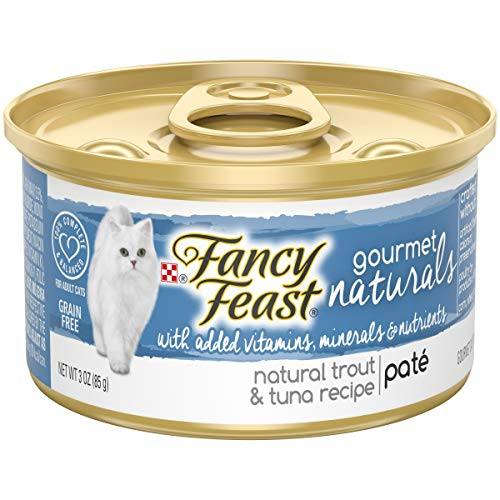 Purina Fancy Feast Grain Free, Natural Pate Wet Cat Food; Gourmet Naturals Trout & Tuna Recipe - 3 oz. Can, Pack of 12