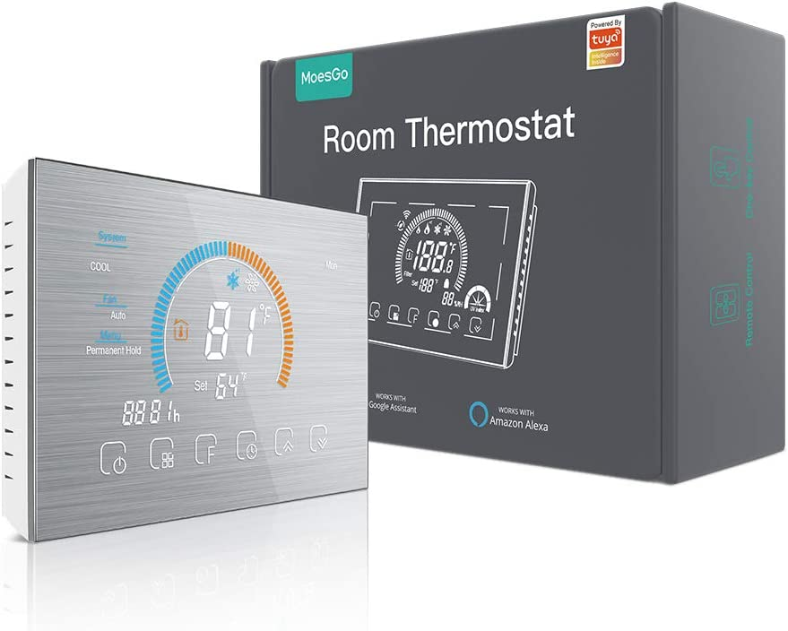 MoesGo WiFi New Metal Brushed Heat Pump Thermostat 24VAC Programmable Room Temperature Humidity Weather Station Controller, Compatible with Tuya/Smart Life APP, Alexa/Google Home Voice Control