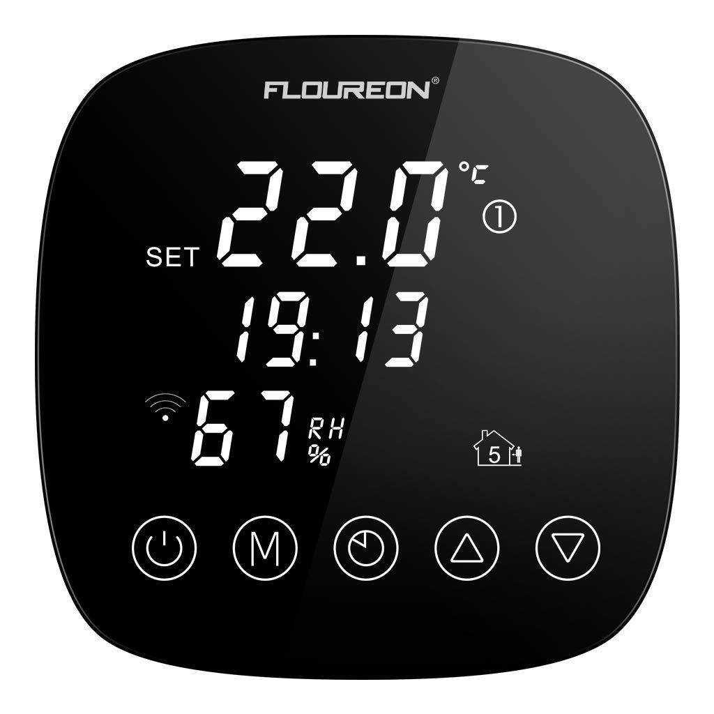 FLOUREON WiFi Thermostat Écran tactile numérique programmable et facile à utiliser 7 jours pour une régulation précise de la température avec capteur d'humidité Application mobile compatible