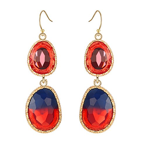 (LILIE&WHITE Fashion Twon Tone Faceted Reisn Drop Earrings Gold Filled Dangle Earrings Hanging Jewelry For Women Red)