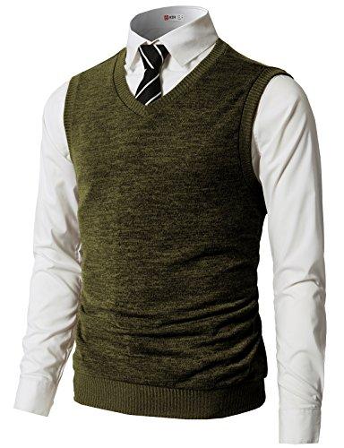 H2H Mens Basic Casual V-Neck Ribbed Knitted Vest Olive US L/Asia XL (CMOV042)