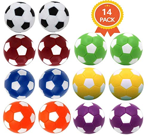 Qtimal Table Soccer Foosballs Replacement Balls, Mini Colorful 36mm Official Tabletop Game Ball – Set of 14