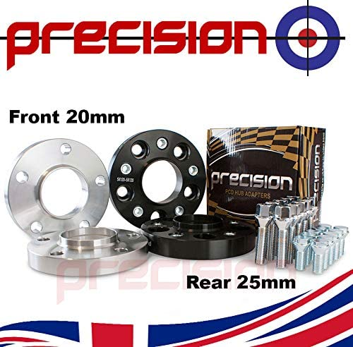 Bolts for ƁMW M3 Alloy Wheels PN.2PHS5+2BS01B+10BM1745117 Precision Staggered 20mm//25mm Hubcentric Spacers