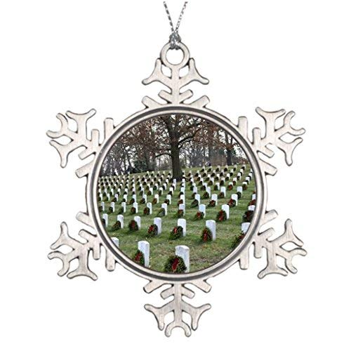 (Christmas Snowflake Ornament Xmas Trees Decorated Arlington National Cemetery Blank One)