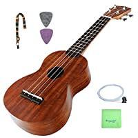 Strong Wind KOA body Soprano Ukulele Professional Aquila Strings Hawaiian Ukulele Starter Kit Packaged with Strap, 2 Picks, Extra set of ukulele strings