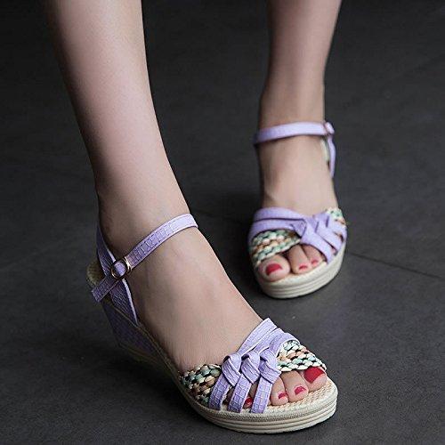 Zapatos tacón pescado zapatos piel boca estampado Moda de Rocio a mujeres KHSKX de alto Treinta de refiere siete y mujer seven Thirty bellas Moda y Violeta se 0PqqExIH