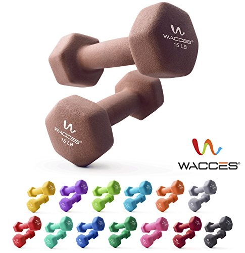 Wacces Neoprene Dipped Coated Set of 2 Dumbbells Hand Weights Sets Non Slip Grip 2 x 15 LB