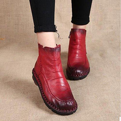 Nappa Confort Amarillo redondeado botines de Casual Botines Café Invierno Negro cuero Zapatos Plano Toe HSXZ mujer Otoño Botas Coffee púrpura Rojo de xfI0nSq