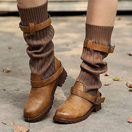 Pantoufles Cuir Plateforme Cinnamou Marron Fourrure Synthtique Boucle Chaussures Casual En Rond Hiver Ceinture Pour Bout Femmes Martin Bottes fAwwqHB