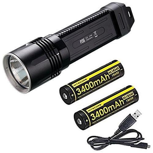 Combo: Nitecore P36 Tactical Flashlight CREE MT-G2 LED 2,000 Lumens w/2x NL1834R Batteries +Free Eco-Sensa USB Cable